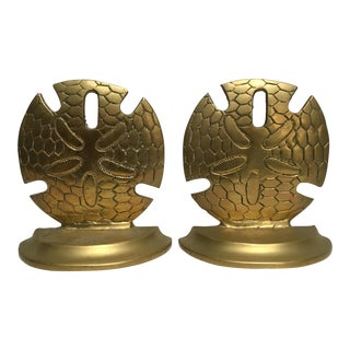 Vintage Solid Brass Sand Dollar Bookends - A Pair