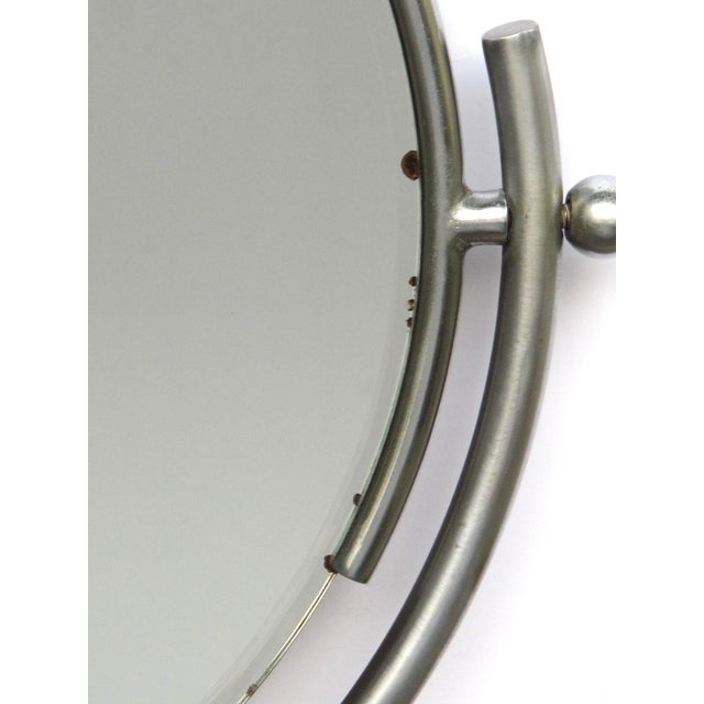 1930s A Chic American Art Deco 1930's Steel Dressing Mirror Raised on a Maplewood Base With Ebonized Highlights For Sale - Image 5 of 7