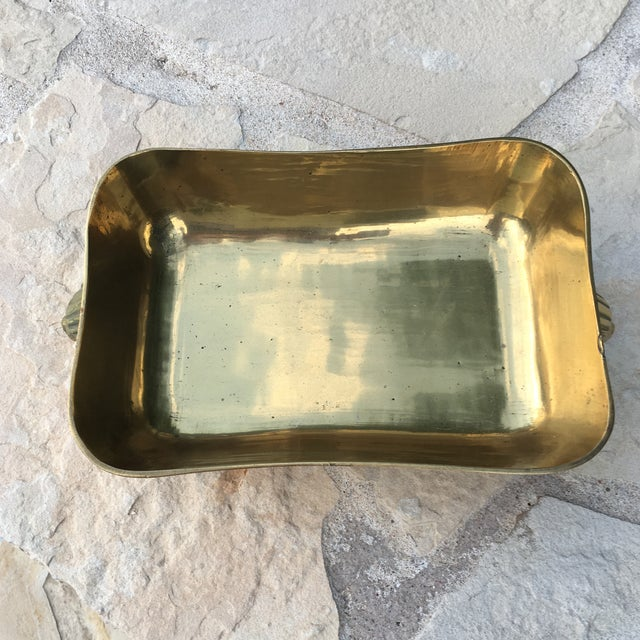 Brass Mid-Century Brass Lions Head Handled Bowl For Sale - Image 7 of 11