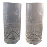 Image of Capella Czech Bohemian Sandblasted Clear Frosted Art Glass Wave Highball - a Pair For Sale