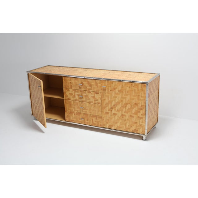 Bamboo Credenza With Faux Bamboo Chrome Frame Gabriella Crespi Style - 1970s For Sale - Image 6 of 10