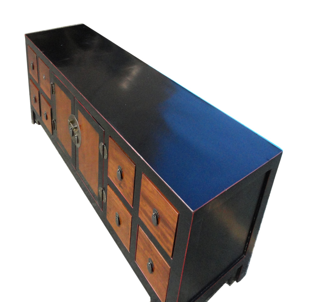 Chinese Black Brown Toned Low Console Cabinet   Image 4 Of 6
