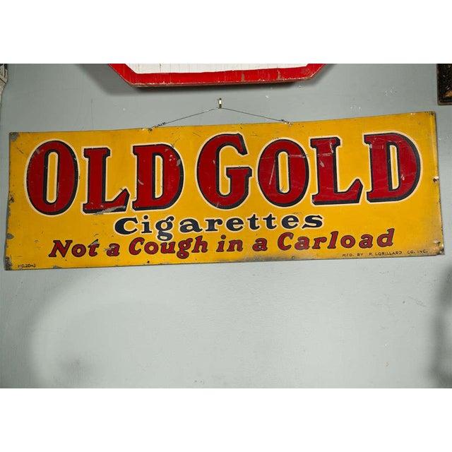 "Antique ""Old Gold Cigarettes"" Sign For Sale - Image 4 of 6"