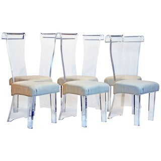 Mid-Century Sculptural Lucite & Silk High Back Dining Room Chairs - Set of 6