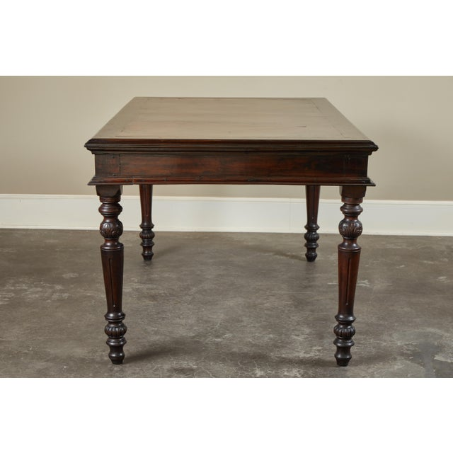 French 19th C French Colonial Desk With Burlwood Center Top For Sale - Image 3 of 11