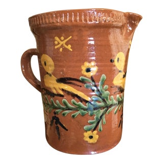 French Hand Painted Pottery Vase Pitcher For Sale