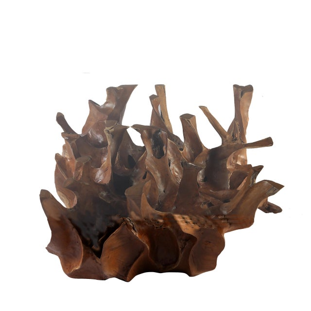 Organic Modern Sculptured Square Teak Root Coffee Table Base For Sale - Image 4 of 4