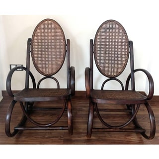 Midcentury Elegant Rattan Pair of Rocking Chairs in the Thonet Style Preview
