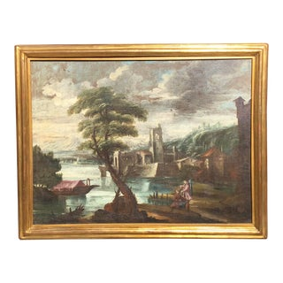 18th or 19th Century Old Master Painting Italian Ruins For Sale
