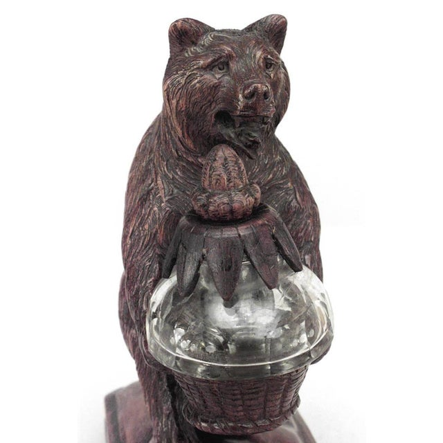 Rustic Rustic Black Forest '19th Century' Walnut Figure of Bear Holding Crystal Inkwell For Sale - Image 3 of 4