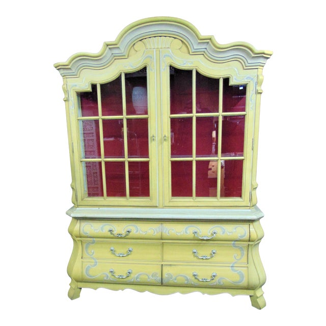 Drexel French Style Paint Decorated China Cabinet For Sale