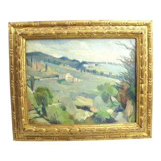 Vintage Mid-Century Desiderio Tanfani Italian Landscape Oil on Board Painting For Sale