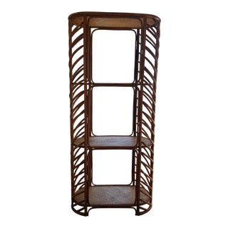Bamboo Rattan Bentwood Bookshelf Etagere Shelves For Sale