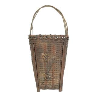 Antique Japanese Woven Split Bamboo Ikebana Flower Basket For Sale