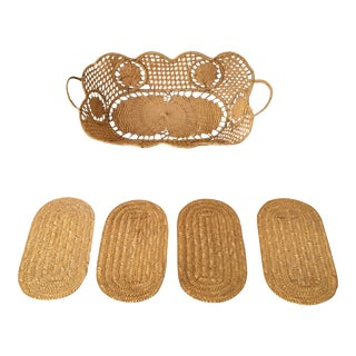 Vintage Rectangular Raffia Basket/Catchall With Handles & 4 Coasters