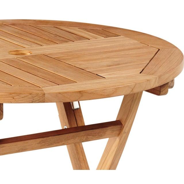 Valencia Round Teak Folding Outdoor Dining Table With Umbrella Hole Chairish