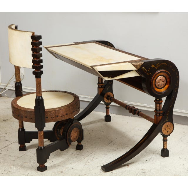 Metal Carlo Bugatti-Style Writing Desk with Chair For Sale - Image 7 of 12