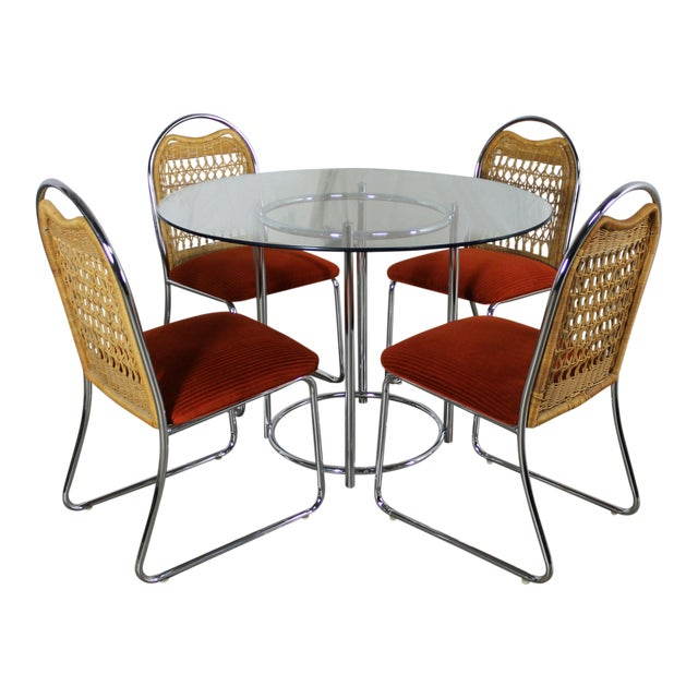 Daystrom Mid-Century Glass & Chrome Table With Chrome & Wicker Chairs - Set of 5 For Sale