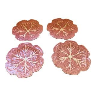 Bordallo Pinheiro Pink Majolica Cabbage Dinner Plates - Set of 4