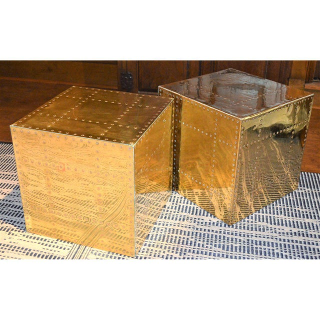 Sarreid Ltd. Brass Cube Side Tables - a Pair For Sale In Houston - Image 6 of 10