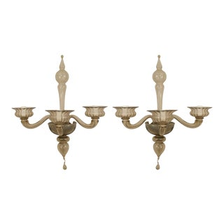 Italian 1940s Venetian Amber Glass Three Fluted Scroll Arm Wall Sconces - a Pair For Sale