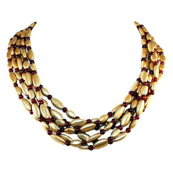 Modern Vintage Nina Ricci Gold-Plated Sterling Silver and Garnet Bead Necklace For Sale - Image 3 of 3