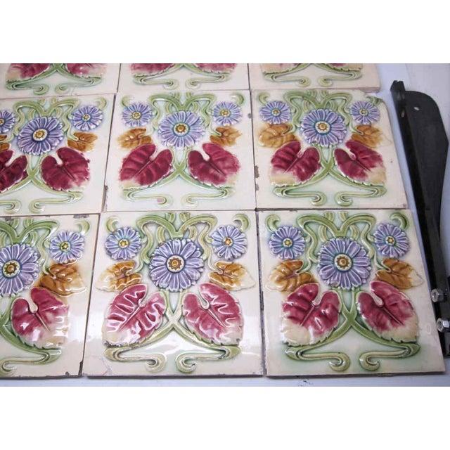 Art Deco Floral Decorative Colorful Art Nouveau Tiles - Set of 15 For Sale - Image 3 of 10