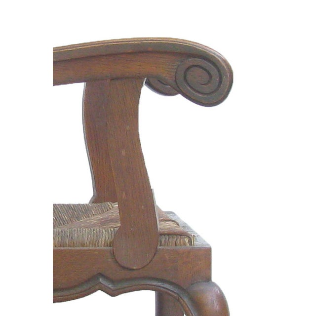 Early 20th Century English Arts & Crafts Rush Seat Arm Chair For Sale - Image 5 of 9