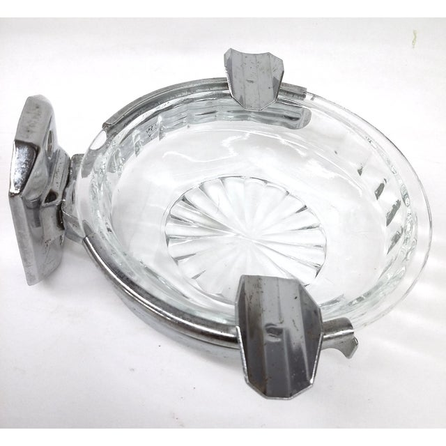 1930s Deco Hotel Glass & Stainless Ashtray For Sale - Image 5 of 7