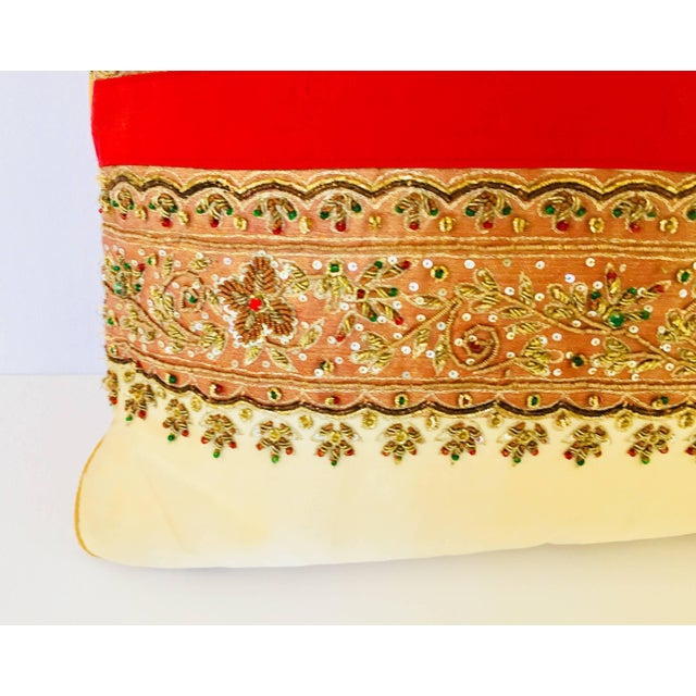 Late 20th Century Decorative Ivory Color Silk Throw Pillow Embellished With Beads For Sale - Image 5 of 10