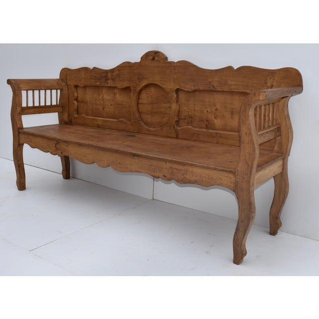 Rustic European Pine and Oak Bench or Settle For Sale - Image 3 of 13