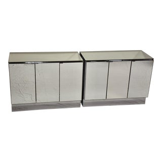 Ello Chrome and Mirrored Chests Credenza - a Pair