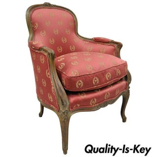 Early 20th Century Antique French Country Louis XV Style Walnut Bergere Arm Chair Preview