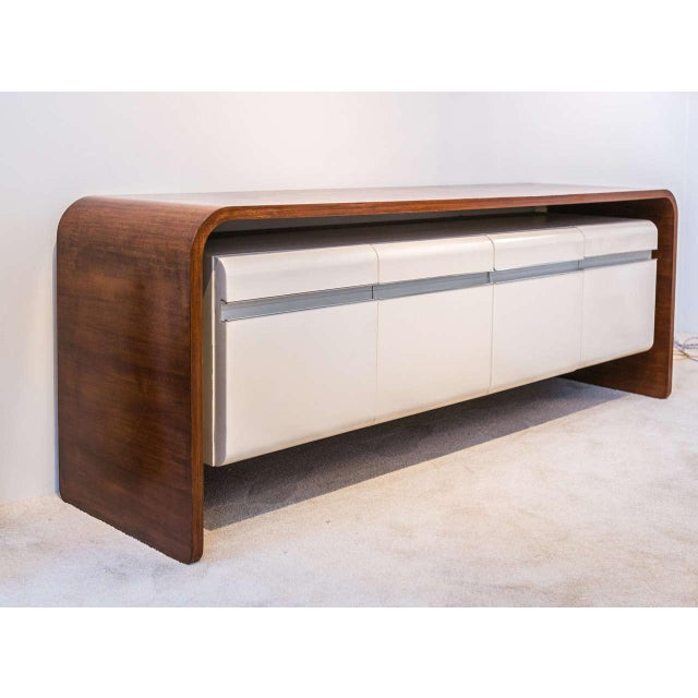 Michel Boyer Michel Boyer Walnut and Formica Credenza For Sale - Image 4 of 7