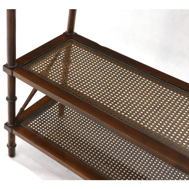 X Stretchers Faux Bamboo Cane and Glass Shelves Étagère Shelves For Sale - Image 12 of 13