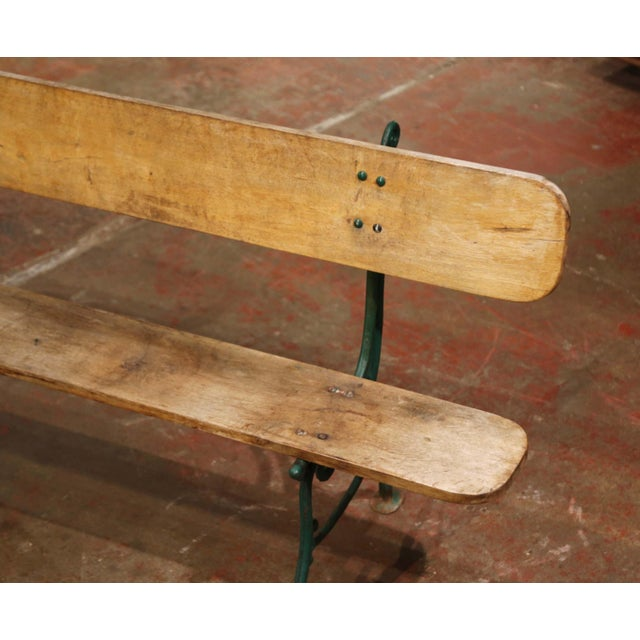 Early 20th Century Early 20th Century French Oak and Green Painted Cast Iron Garden Bench For Sale - Image 5 of 12