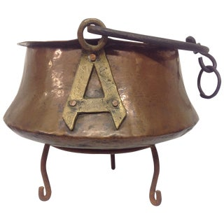 Antique Copper & Iron Cauldron For Sale
