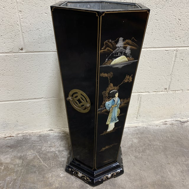 Asian Hand Painted Chinese Soapstone Umbrella Stand For Sale - Image 3 of 13