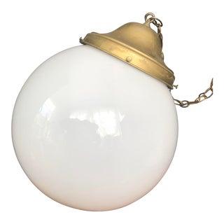 1940s Antique Schoolhouse Milk Glass Pendant Light For Sale