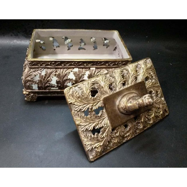 Scrolling Openwork Leaf Design Gold Footed Box - Image 3 of 5