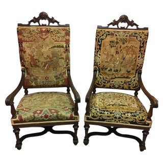 Pair of English Armchairs Upholstered in Tapestry Fabric, 19th Century For Sale