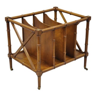 Vintage Hollywood Regency Faux Bamboo Canterbury Magazine Rack For Sale