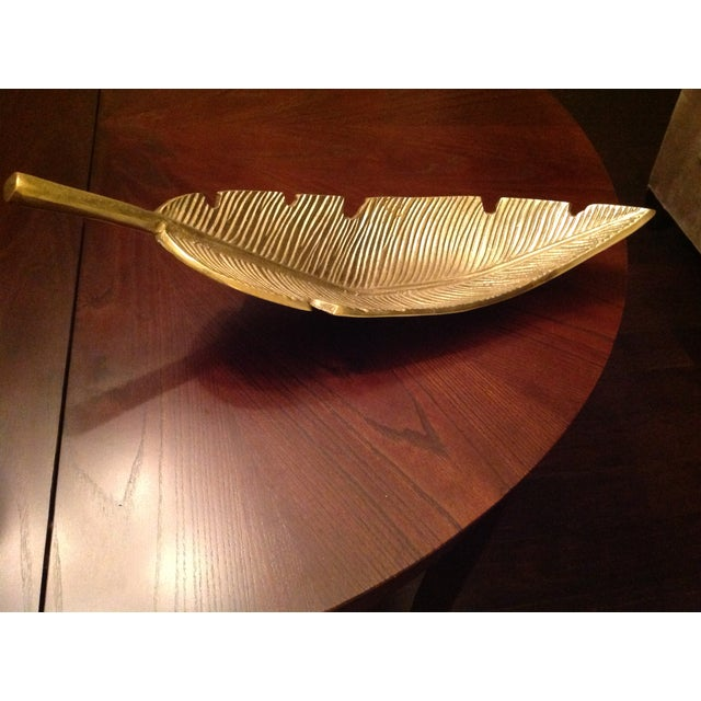 Metal Banana Leaf Gold Decorative Tray For Sale - Image 7 of 13