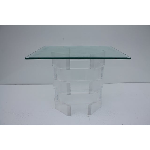 Sculptural Stacked Lucite & Glass Top Side Table - Image 8 of 10