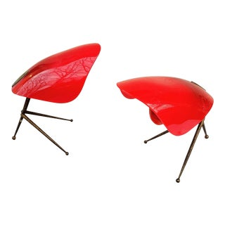 Mid-Century Modern Red Italian 1950's Tripod Table Lamps - a Pair For Sale