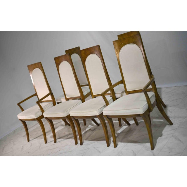 Mid-Century Modern 1960s Hollywood Regency Amboyna Wood Dining Chairs by Mastercraft - Set of 6 For Sale - Image 3 of 13