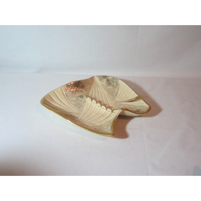 Mid Century Beige and Gold Ashtray - Image 2 of 7