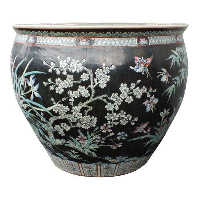 Qianlong Chinese Famille Noir Fish Bowl Planter For Sale
