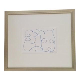 Blue Map on White Horizontal Acrylic Painting