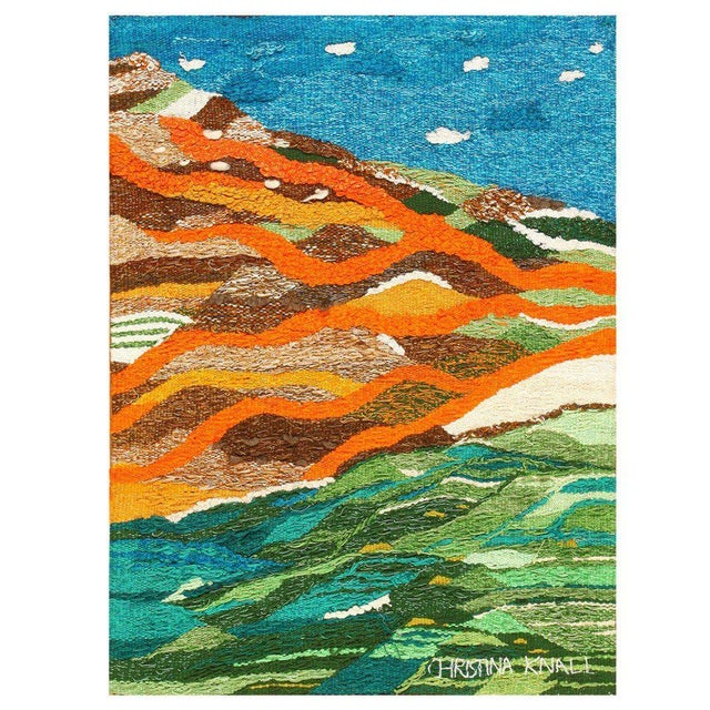 White Scandinavian Landscape Tapestry Rug by Christina Knall - 3′ 10″ × 5′ For Sale - Image 8 of 8